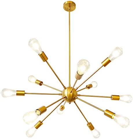 LynPon Sputnik Chandelier 12 Lights Modern Gold Brass Ceiling Light Fixture Industrial Vintage Pendant Lighting