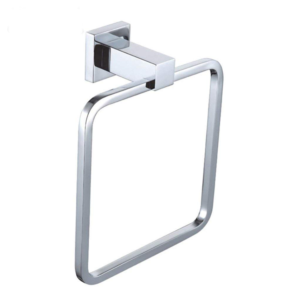 Sumin Home S17502 Modern Solid Brass Square Towel Ring for Bathroom, Chrome