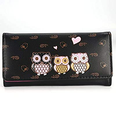 Stylish Cute Cartoon Women Wallet PU Leather Long Purse Wallet Casual Notecase N (Color - black)