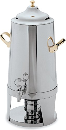 - Carlisle 609633 Contemporary Stainless Steel 18-8 Beverage Urn with Brass Handle, 3-gal. Capacity, 22-1/2
