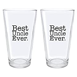 Christmas Gifts for Uncle Best Uncle Ever Fathers Day Gifts for Uncle Gift Pint Glasses 2-Pack Pint Glass Set Clear