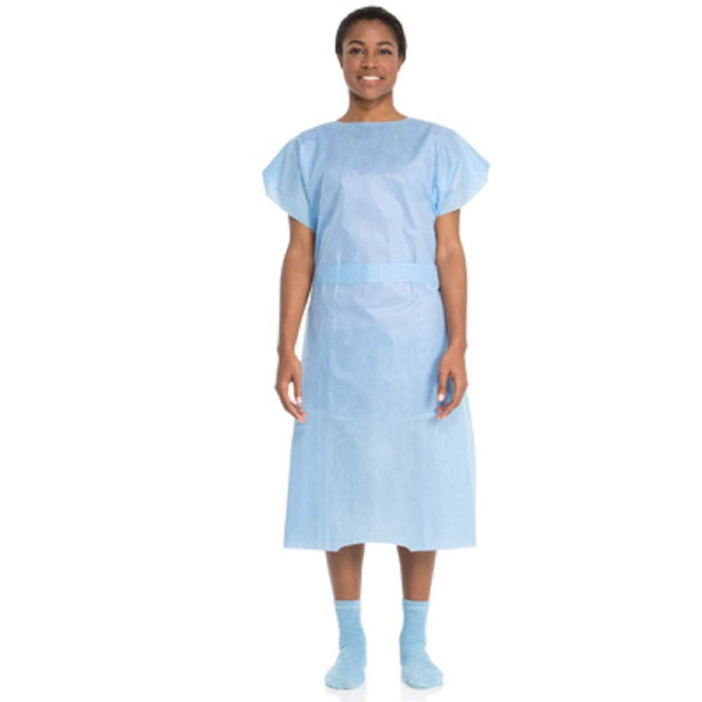 APQ Pack of 100 Disposable Patient Gowns, Blue Universal Size Patient Care Non Sterile Poly and Tissue Latex Free Clinics, Surgery, Lab Procedures Sleeveless Style Single Use Multifunctional Wholesale