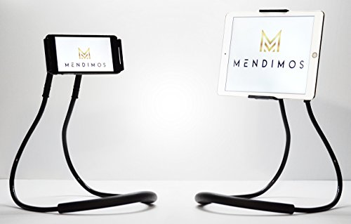 MENDIMOS Lazy Cell Phone Holder With Bonus Stand - 360 Degree Rotating Mount, Mobile Phone Stand, 3 in 1 (Phones, Tablets, E-Books) Gooseneck Tablet Stand by MendiMos