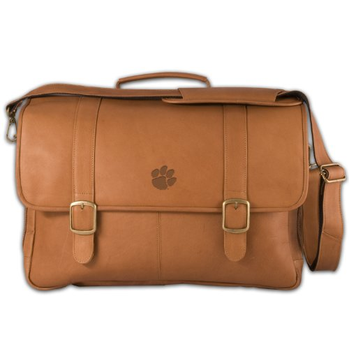 NCAA Clemson Tigers Tan Leather Porthole Laptop Briefcase