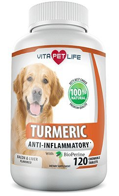 Turmeric for Dogs, Curcumin and BioPerine Anti Inflammatory Supplement, Antioxidant, Promotes Pet Mobility and Pain Relief, Prevents Joint Pain and Inflammation, 100% Natural. (120 chews)