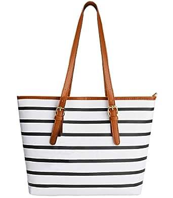 Beach Bag, Coofit Stripes Summer Purse Tote Shoulder bag Womens Handbag PU Leather Purse with Sea Anchor Pendant , Large