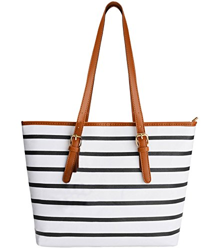 (Summer Bag, COOFIT Stripes Purse Tote Shoulder bag Womens Handbag PU Leather Purse)