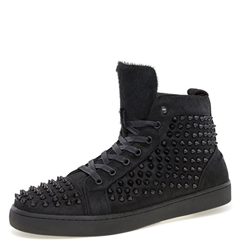 J75 Jump Men's Rarity Round Toe Spike Detail Lace-up High-Top Sneaker Black Fur 10 D US Men by J75