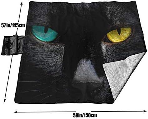 Black Cat in Halloween Night Coperta da Picnic con stuoia da Picnic Pieghevole Resistente alla Sabbia e trasportabile a Mano