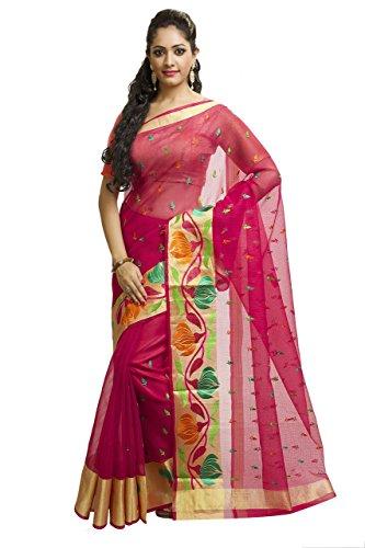 Kota Doria Cotton Saree - Rajnandini Women's Kota Doria Embroidered Cotton Saree(JOPLSRS1036F_Magenta_Free Size)