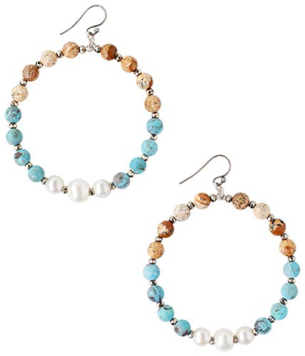 (Chan Luu Turquoise and White Freshwater Cultured Pearl Mix Beaded Hoop Earrings)