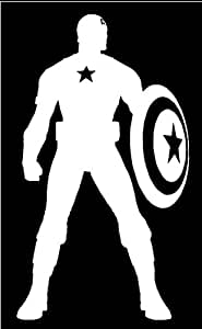 Amazon Com Captain America Silhouette Logo White Vinyl