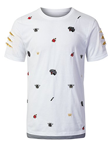 URBANCREWS Mens Hipster Hip Hop Embroidered Short Sleeve T-Shirt White, XL by URBANCREWS