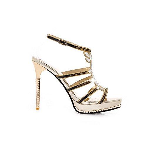 AgooLar Women's Soft Material High-Heels Open Toe Buckle Solid Sandals Gold iSTkuymAl6