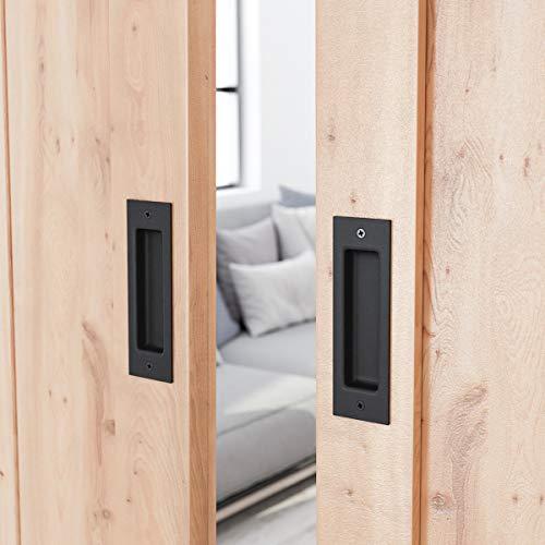 (SMARTSTANDARD 2 Pack Flush Pull 6-1/2inch Matte Black Frosted Handle for Sliding Barn Door Hardware Finger Pull)