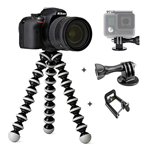 CEUTA® Fully Flexible Octopus 10 Inch Gorilla Tripod for Mobile Phone DSLR and Action Camera GoPro with Holder Stand Gorillapod Lightweight Sturdy Portable Adjustable for DSLR, Cameras & Smartphones
