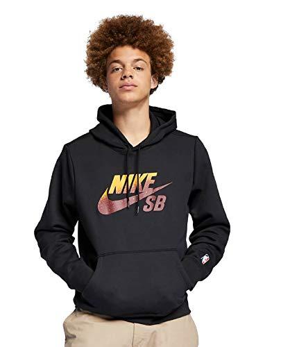 (Nike Mens SB ICON Pullover NBA BV6750-010_L - Black/Team RED)
