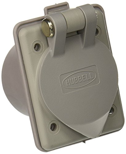 (Hubbell Wiring Systems HBL61CM65 Nylon Compact Weatherproof Panel Mount Outlet with Straight Blade, 20A/15A, 125V, 2-Pole, 3 Wire Grounding, Gray)