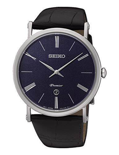 (Seiko Mens Analogue Quartz Watch with Leather Strap SKP397P1)
