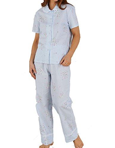 Slenderella Ensemble de Pyjama à Manches Courtes - Bleu à ImpriméFleuri PJ5223