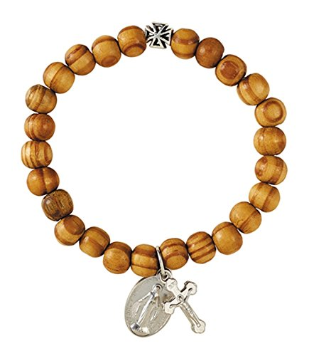 Olive Wood Bead Stretch Bracelet with Miraculous Medal and Crucifix Charm, 7 Inch
