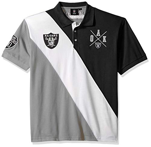 Oakland Raiders Cotton Rugby Polo Diagonal Stripe Large