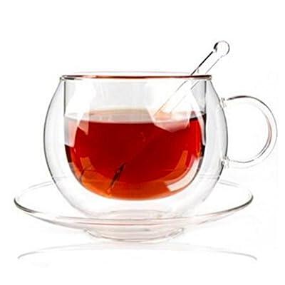 Xenics Tea Cups Borosilicate Glass Flower Tea Cups Ultra Clear,Set of 6