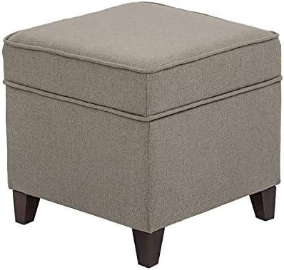 Furnistar 18 Modern Design Fabric Square Storage Ottoman with Hinge Hidden Top,Foot Rest Stool for Living Room Gray