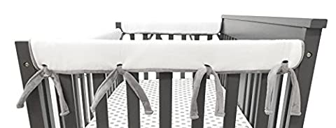 American Baby Company 2 Piece Heavenly Soft Chenille Reversible Crib Cover for Side Rails, Gray/White, Narrow for Crib Rails Measuring up to 8