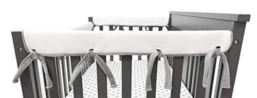 Side File Rail - American Baby Company 2 Piece Heavenly Soft Chenille Reversible Crib Cover for Side Rails, Gray/White, Narrow for Crib Rails Measuring up to 8