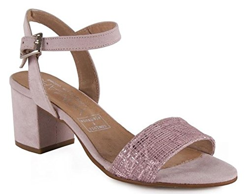 CHAMBY Womens Suede Leather Ankle Strap Sandals Peep Toe Block Heels Bs5qNRgN