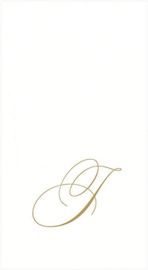 Entertaining with Caspari White Pearl Paper Linen Guest Towels Monogram Initial G Pack of 24 Caspari Inc 2900GG.G