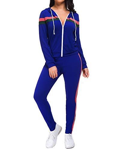 (Unifizz Women's 2 Piece Outfits Zip Hoodie Sweatshirt & Sweatpants Sweatsuits and Plus Size Tracksuit Sets Jogging Suit)