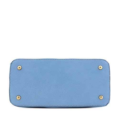 Satchel Classic Dome Zip Top Double Handle Bag Blue XxXqFp