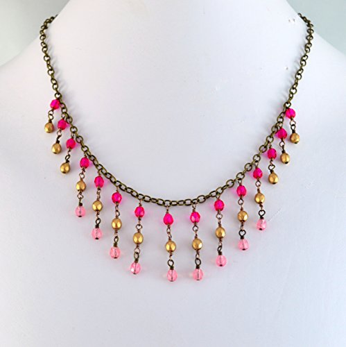 Fringe Beads Glass Matte - Bib Necklace with Pink and Gold Glass Beads