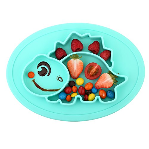 (Qshare Toddler Plate, Portable Baby Plate for Toddlers and Kids, BPA-Free FDA Approved Strong Suction Plates for Toddlers, Dishwasher and Microwave Safe Silicone Placemat 11x8x1 inch)