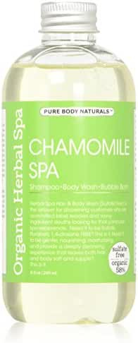 Pure Body Naturals Organic Chamomile 3-in-1 Shampoo / Body Wash / Bubble Wash, 8 Fl. Oz.