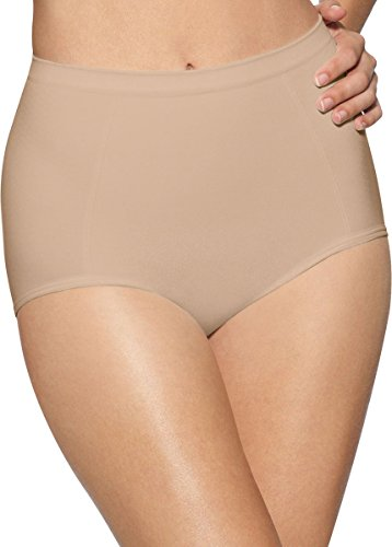 Bali womens Seamless Brief With Tummy Panel Ultra Control 2-Pack(X245)-2 Nude-M Regular Tummy Control