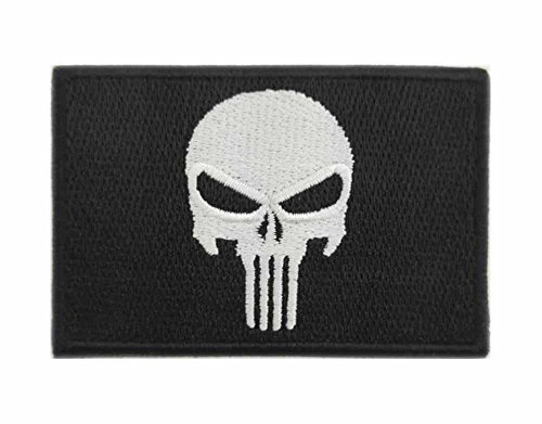 GODEAGLE Morale Skull Embroidered Iron On/Sew On Patch Embroidered Patches Appliqued Iron-on/Sew on Patches Jacket Pacthes