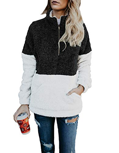 BTFBM Women Long Sleeve Zipper Sherpa Sweatshirt Soft Fleece Pullover Outwear Coat 41BvyP A46L   41BvyP A46L