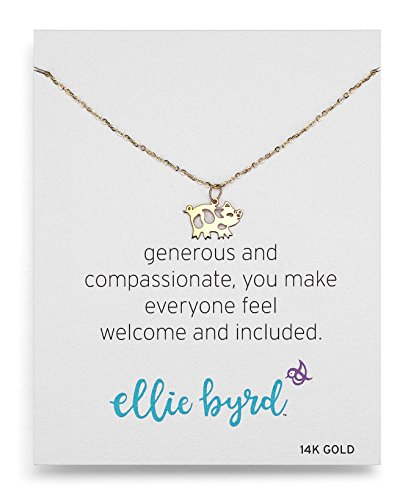 ellie byrd 14k Yellow Gold Pig Pendant Necklace, 18