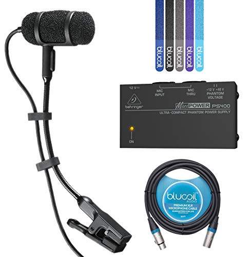 Audio-Technica PRO 35 Cardioid Condenser Clip-on Instrument Microphone -INCLUDES- Behringer MicroPower PS400 Phantom Power Supply, Blucoil 10-Ft XLR Cable AND 5-Pack of Cable Ties