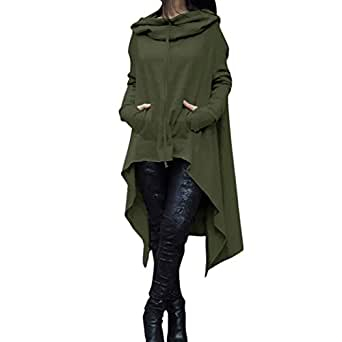 Kimloog Women Autumn Long Sleeve Irregular High Low Asymmetric Hoodie Tunic Sweatshirt Tops Drawstring Pullover Sweater Kangroo Pocket (S, Army Green)