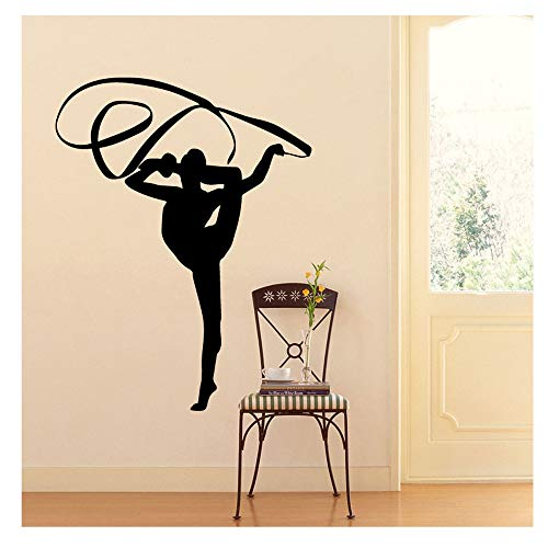 Wociaosmd Dance Women Silhouette Removable Wall Decals Murals Stickers for Bedroom Shop 48cmX34cm (I)