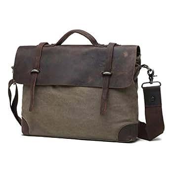 "Mens Bag Casual Business Briefcase Shoulder Messenger Crossbody Satchel Bag Office 9.7"" iPad Tablet Handbag High capacity (Color : ArmyGreen)"
