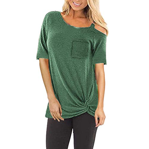 NCCIYAZ Womens T-Shirt Top Short Sleeve Solid Pocket Knoted Shirt Ladies Loose -