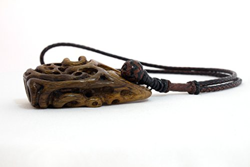 Kangaroo leather necklace - American Walnut carved totem. embedded with Black Onyx ()