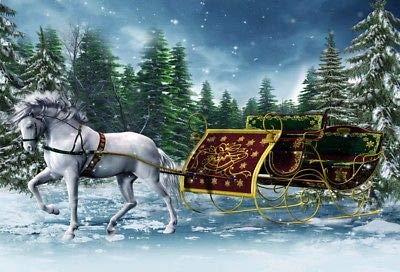 - FidgetFidget Vintage Sleigh White Horse Background Winter Snow Forest Backdrop Photo Prop 7x5