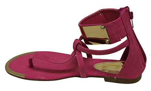 Anna Lynk-20 Perizoma Piatta Donna T-strap Dorato Cinturino Alla Caviglia Chiusura Con Zip Sandali Fucsia