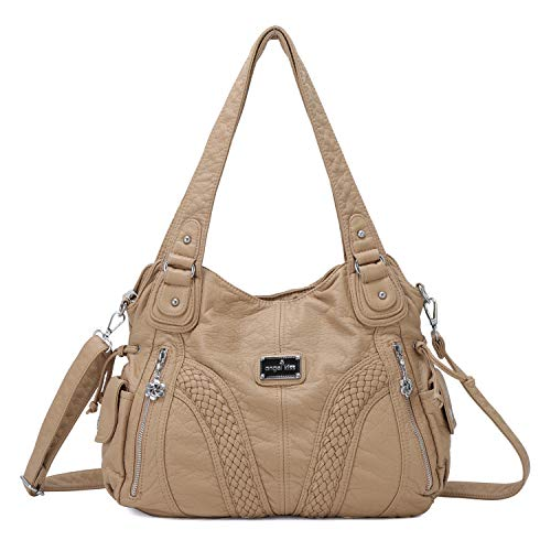 Angelkiss Women Top Handle Satchel Handbags Shoulder Bag Messenger Tote Washed Leather Purses Bag (Khaki) ...